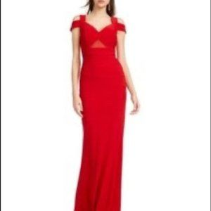 NWT emerald sundae red bandage cold shoulder gown